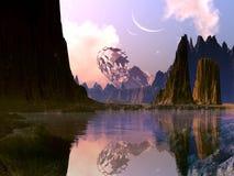 Verpletterd Ruimteschip op Vreemde Planeet royalty-vrije illustratie