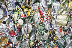 Verpletterd Tin Cans For Recycling Royalty-vrije Stock Foto's