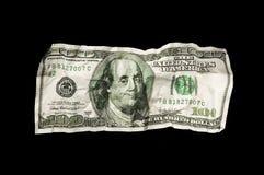 Verpletterde 100 dollarrekening Royalty-vrije Stock Afbeelding