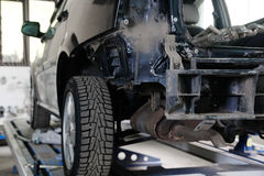 Verpletterde auto op voorraden royalty-vrije stock foto's