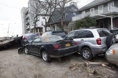 Verpletterde auto's na Orkaan Zandig op Oct Royalty-vrije Stock Fotografie