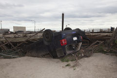 Verpletterde auto's na Orkaan Zandig op Oct Stock Fotografie