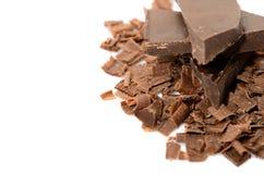 Verpletterde chocolade op witte achtergrond Royalty-vrije Stock Foto