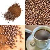 Verpletterde en Gehele Koffiebonen in een Gietijzermortier Stock Afbeeldingen