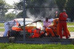 Verpletterde raceauto royalty-vrije stock afbeeldingen