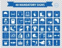 Verplichte die tekens, bouwgezondheid, veiligheidsteken in industriële toepassingen wordt gebruikt Stock Afbeeldingen