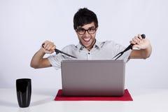 Verrückt über Technologie lizenzfreies stockfoto