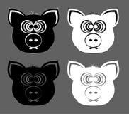 Verrückt gemachter Schwein ` s Kopf lizenzfreie abbildung