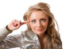 Verrückte junge Frau in der silbernen Jacke Stockbild