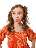 Verrückte junge Frau mit Hecks in der Robe getrennt stockbilder