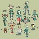 Verrückte Maschinen Karikaturen und Retro- Stockfoto
