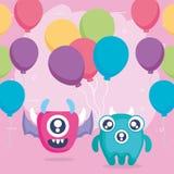 Verrückte Monsterpaare mit Ballonhelium stock abbildung