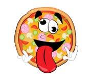 Verrückte Pizzakarikatur Lizenzfreies Stockbild