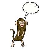 verrückter Affe der Karikatur mit Gedankenblase Stockfotos