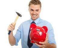 Verrückter blonder Mann mit Hammer Lizenzfreies Stockfoto