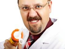 Verrückter kahlköpfiger Doktor Stockfotografie