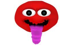 Verrückter und geisteskranker roter Emoticon mit der räkelnden Zunge (Zunge aus Stockfoto