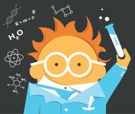 Verrückter Wissenschaftler in den Gläsern mit einer Birne stockfotos