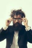 Verrückter Wissenschaftler des bärtigen Mannes von Professor in den Gläsern Stockfoto