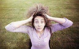 Verrücktes Mädchen überrascht Stockbilder