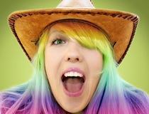 Verrücktes schreiendes Schönheitscowgirl Lizenzfreie Stockbilder