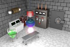 Verrücktes wütendes Wissenschaftler-Labor Stockbild