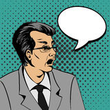 Överraska framsidan för mannen för bubblapopkonst den förvånade Illustration för popkonst av en komisk stil, mananförandebubbla Royaltyfri Fotografi