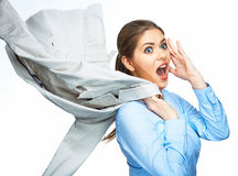 Överraskande dräkt för rörelse för håll för affärskvinna Arkivfoton