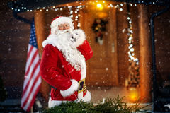 Överraskningen Santa Claus ankommer Arkivfoton