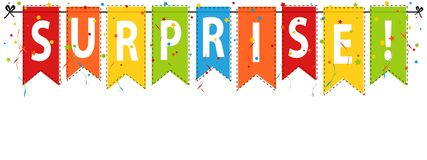 Verrassing! Banner, Achtergrond - de Vectorillustratie van Editable Stock Foto