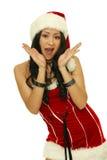 Verrassing - een zeer verrast Kerstmismeisje Stock Afbeelding