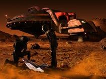 Verrassing op planeet Mars stock illustratie