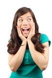 Verrassing - opgewekte Vrouw Stock Fotografie