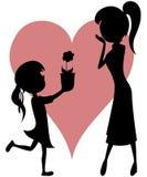 Verrassingsmamma (bloem van een dochter met silhouetten)! Stock Foto