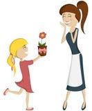 Verrassingsmamma (kleurrijk en gedetailleerd met een blondemeisje)! Stock Afbeelding