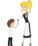 Verrassingsmamma (kleurrijk en gedetailleerd met een krullend-haired jongen en een blondemamma)! Royalty-vrije Stock Afbeelding