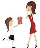 Verrassingsmamma (kleurrijke en gedetailleerde kunst met een donkerbruine dochter en een moeder in rood)! Royalty-vrije Stock Foto