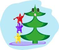 Verrast bij de Kerstboom Stock Afbeeldingen