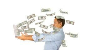 Verrast Geld van Laptop Stock Afbeelding