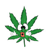 Verrast marihuanabeeldverhaal Royalty-vrije Stock Foto's