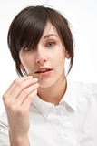 Verrast meisje met chocolade royalty-vrije stock foto
