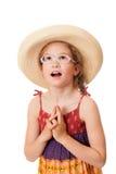 Verrast meisje met glazen in sundress Stock Afbeeldingen