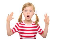 Verrast meisje met omhoog handen royalty-vrije stock foto's
