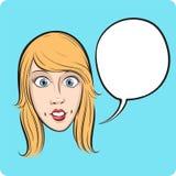 Verrast meisjesgezicht met toespraakbel Stock Afbeelding