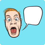 Verrast mensengezicht met toespraakbel Stock Afbeelding