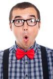 Verrast nerd mensengezicht Stock Foto's