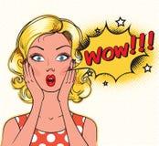 Verrast vrouwengezicht met open mond Stock Afbeelding