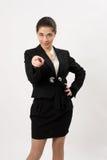 Verraste bedrijfsvrouw op een witte achtergrond Stock Fotografie