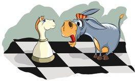 Verraste een ezel bekijkt schaakridder Stock Afbeelding