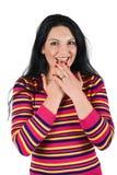 Verraste gelukkige vrouw Stock Foto's